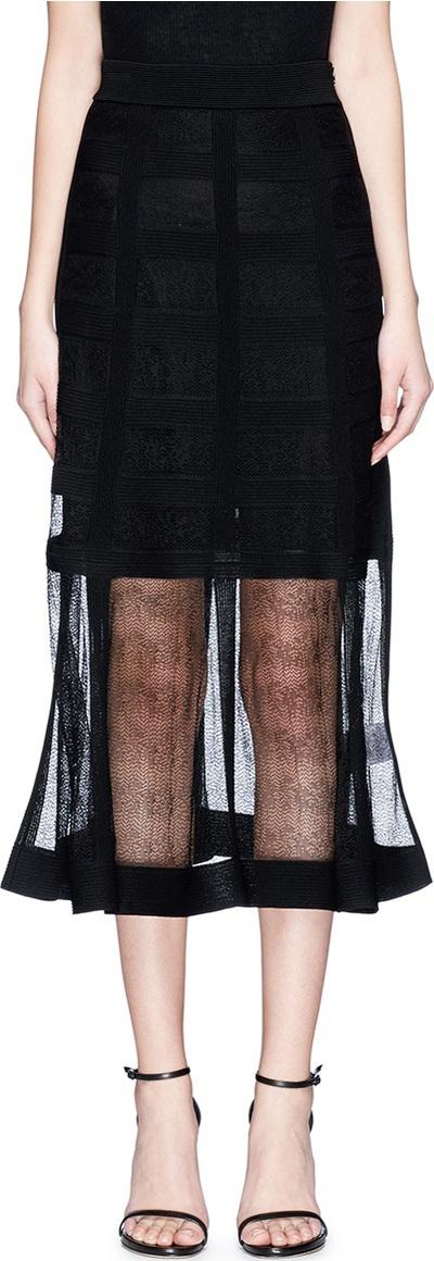 Alexander McQueen Silk jacquard overlay skirt