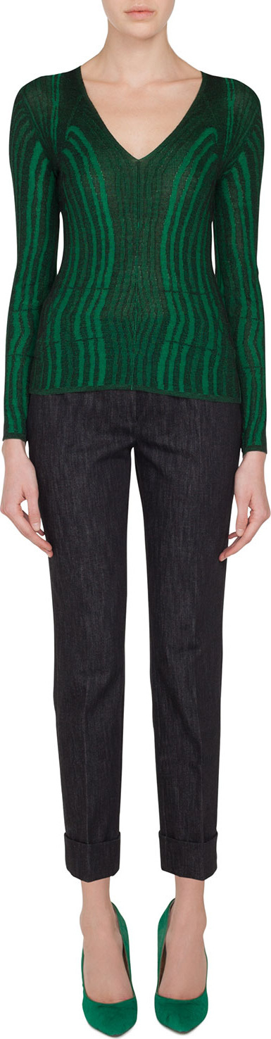 Akris V-Neck Long-Sleeve Malachite-Jacquard Knit Top