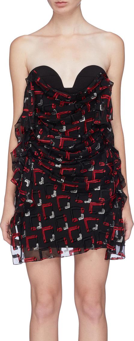 Carmen March Geometric fil coupé drape panel strapless bustier dress