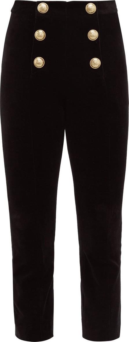 Balmain Buttoned velvet kick-flare trousers