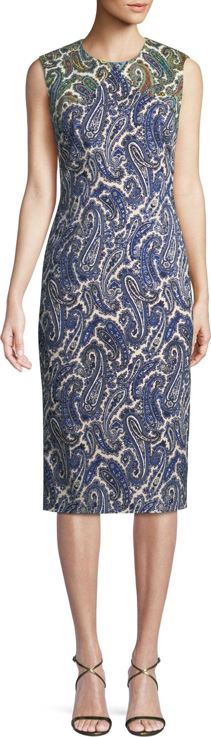 DIANE von FURSTENBERG Paisley-Print Sleeveless Midi Sheath Dress