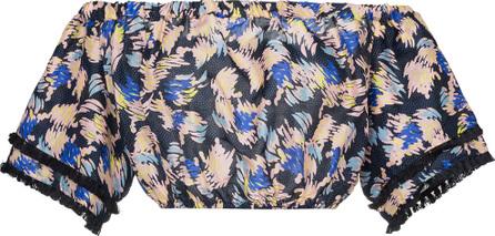 A Peace Treaty Yuna print silk linen-blend cropped top