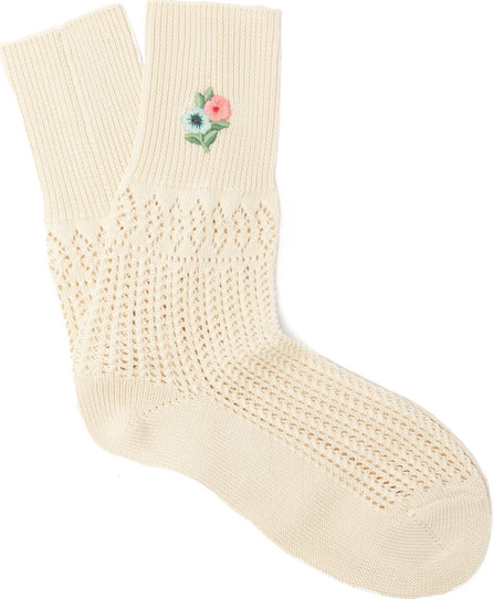 Gucci Floral-embroidered pointelle-knit ankle socks