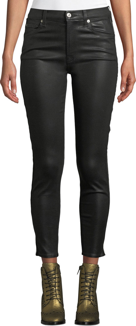 7 For All Mankind Coated High-Waist Ankle Skinny Jeans