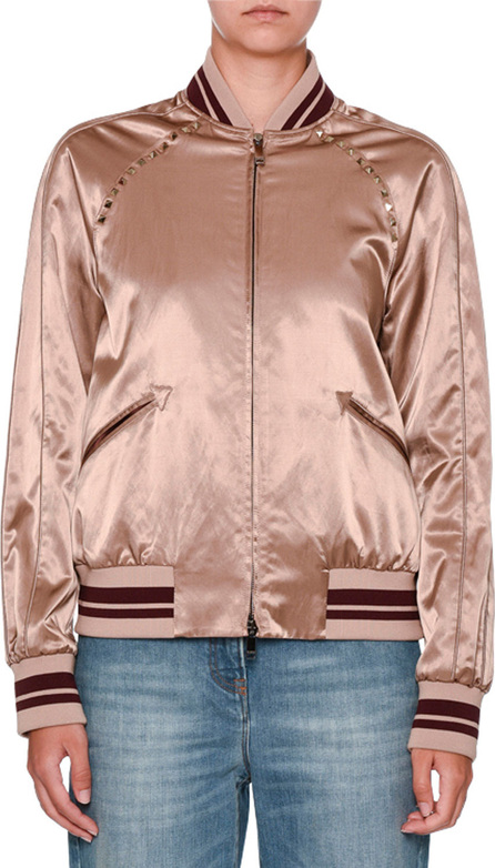 Valentino Rockstud Satin Bomber Jacket, Dusty Pink