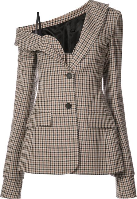 Vera Wang One shoulder tailored bustier blazer