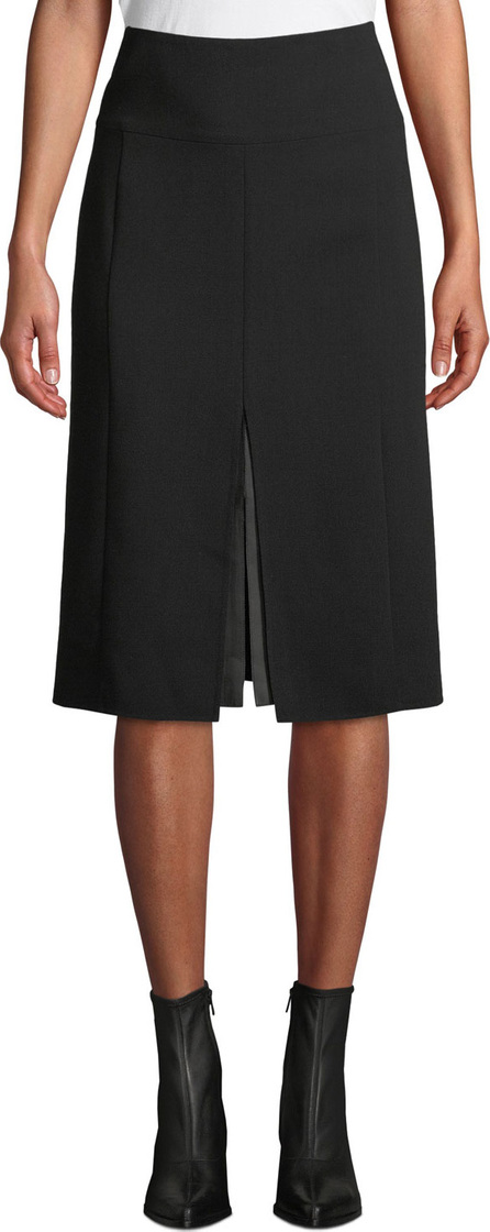 Akris High-Waist A-Line Leather-Slit Wool Skirt