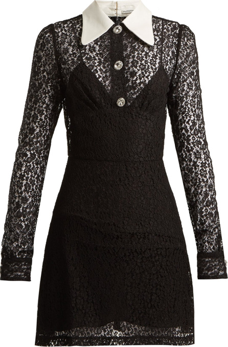 Alessandra Rich Crystal-embellished floral-lace dress