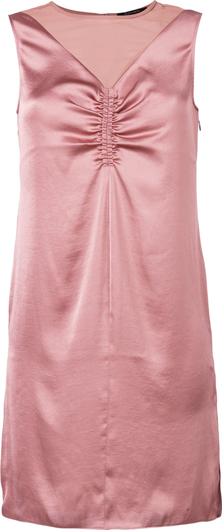 All Saints Ruched detail sheer panel dress