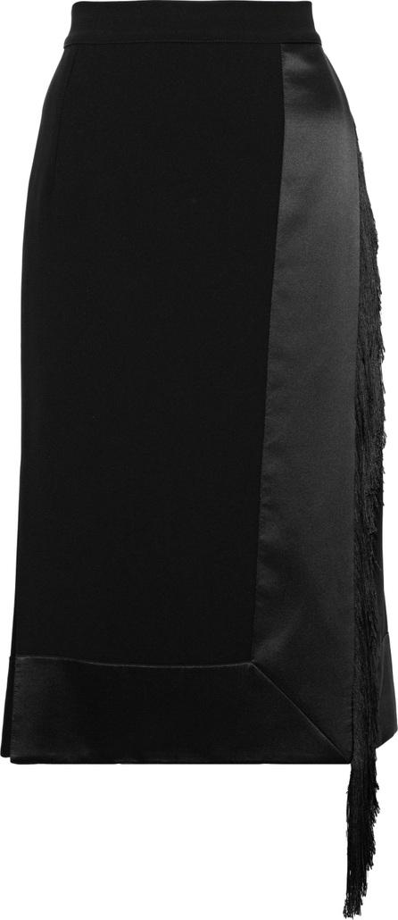 Altuzarra Jude fringe-trimmed satin-paneled crepe skirt