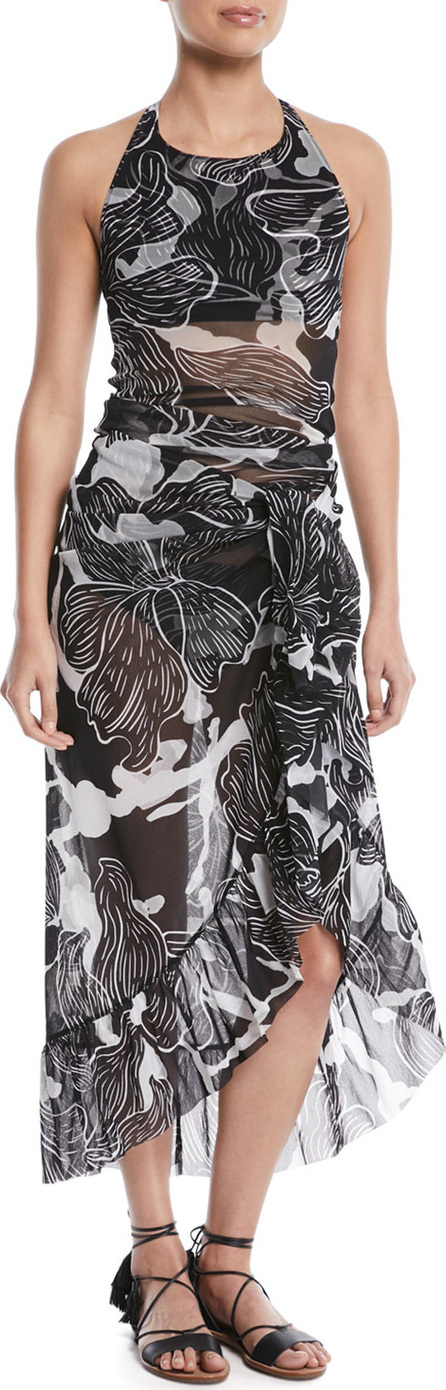 Fuzzi Printed Ruffle Wrap Skirt Pareo