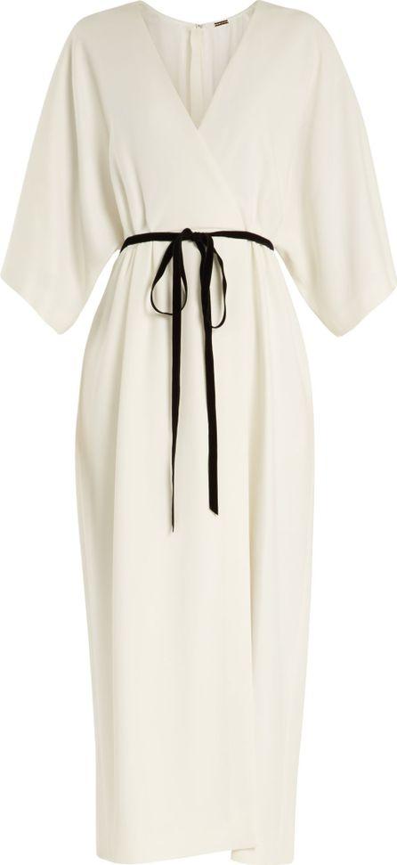 Adam Lippes Tie-waist stretch-cady wrap dress