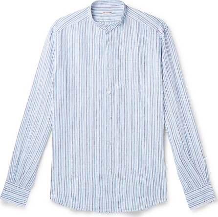 Caruso Slim-Fit Grandad-Collar Striped Linen-Gauze Shirt