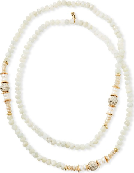 Akola Long Moonstone & Leather Necklace, White