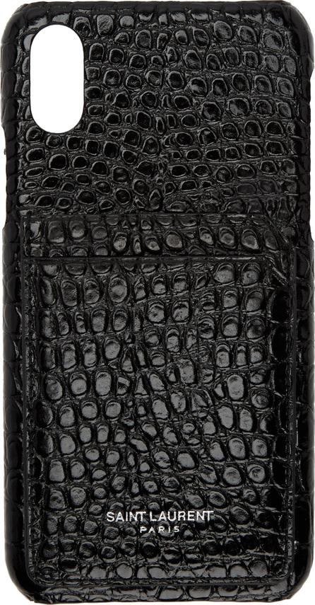 Saint Laurent Black Croc iPhone X Case