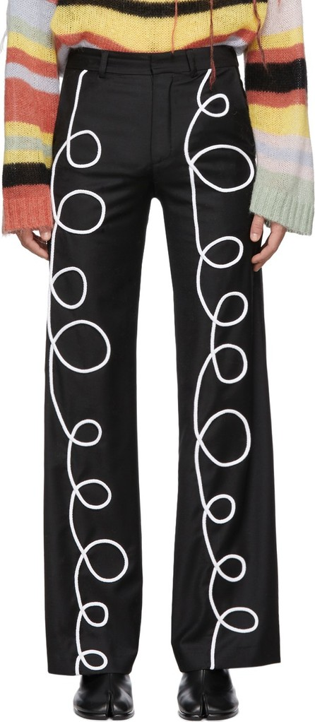 Charles Jeffrey Loverboy Black Tubey Swirl Trousers