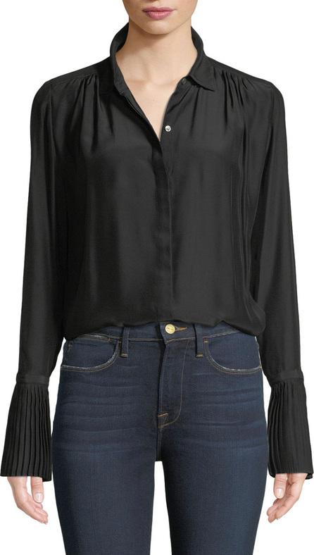 FRAME DENIM Long-Sleeve Pintuck Button-Front Silk Blouse