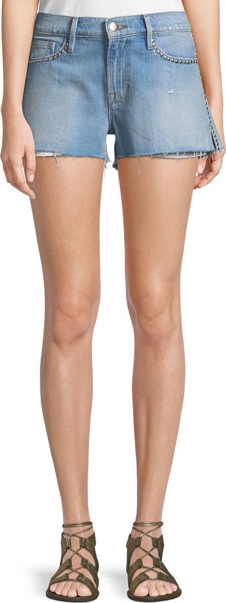 FRAME DENIM Le Studded Cutoff Denim Shorts