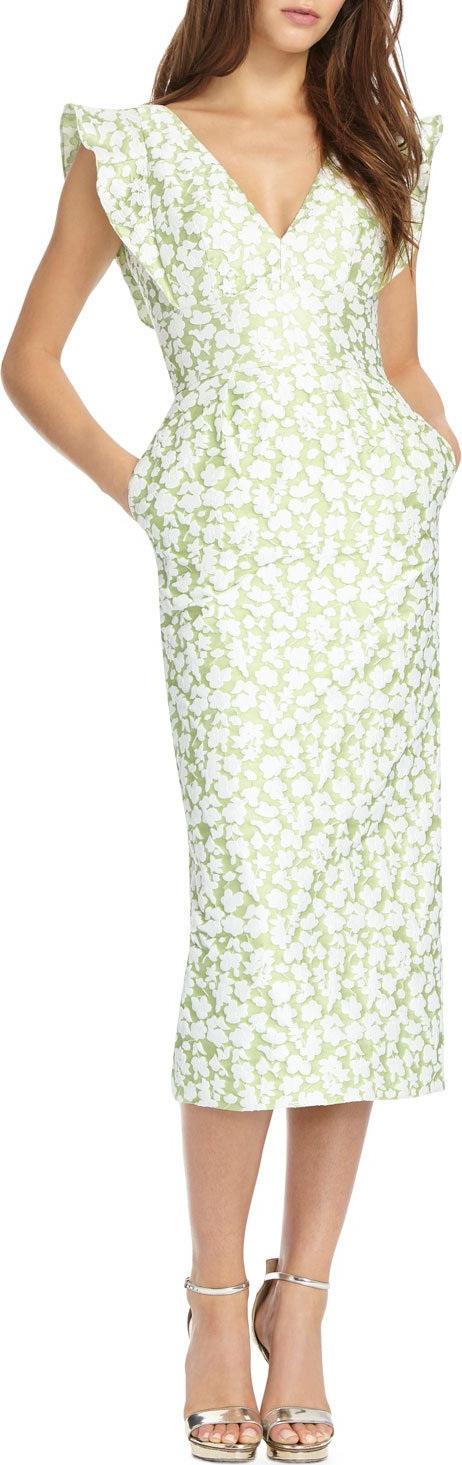 ML Monique Lhuillier - Jacquard V-Neck Cocktail Dress w/ Pockets