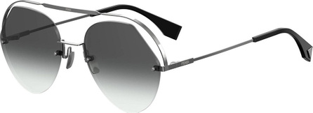 Fendi Rimless Aviator Sunglasses w/ Floating Brow Bar