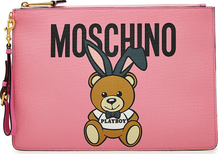 Moschino Bunny Teddy Printed Leather Clutch
