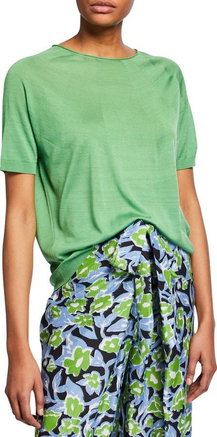 Christian Wijnants Kyoko Silk Round-Knit Crewneck Tee, Green