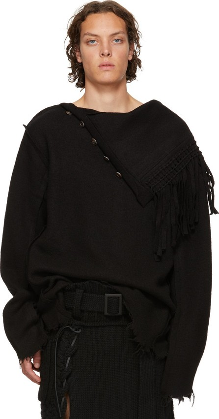 BED J.W. FORD Black Fringe Neck Sweater