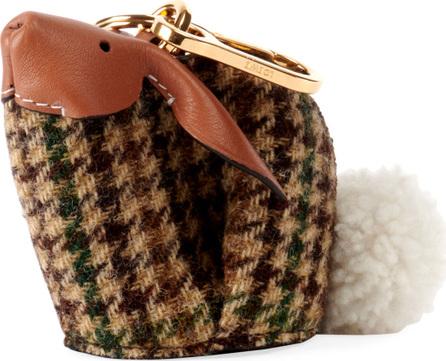 LOEWE Bunny Tweed Bag Charm, Green Pattern