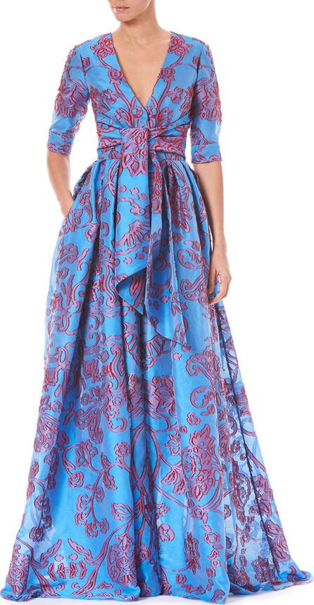 Carolina Herrera Twist-Tie Front Elbow-Sleeve Jacquard Trench Evening Gown
