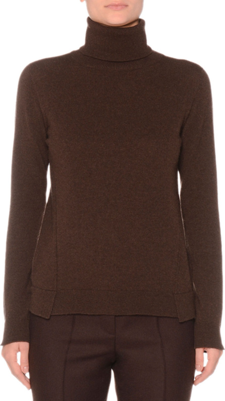 Agnona Eternal Cashmere Long-Sleeve Turtleneck Sweater, Brown