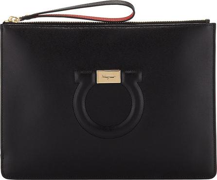 Salvatore Ferragamo Gancio City Leather Wristlet Pouch Bag