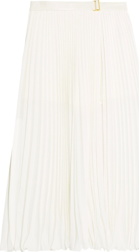 HALSTON HERITAGE Leather-trimmed pleated chiffon midi skirt
