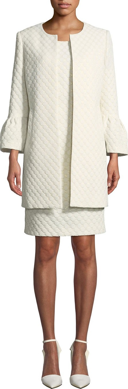 Albert Nipon Two-Piece Jacquard Dot Coat & Dress Set