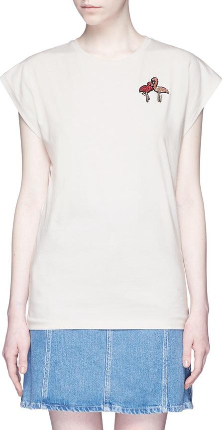 GIAMBA Flamingo sequin appliqué cotton T-shirt