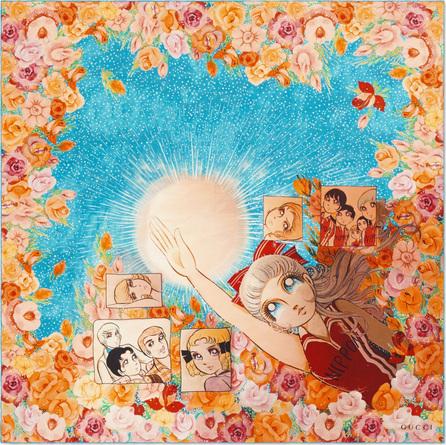 Gucci Manga Soul Square Silk Scarf