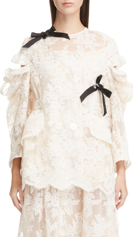 Simone Rocha Cold Shoulder Corded Lace Jacket