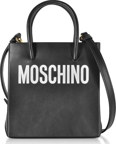 Moschino Black Leather Signature Tote Bag