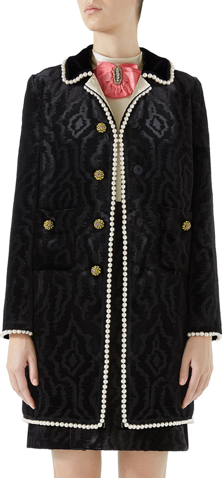 Gucci Woven Moire Velvet Coat w/ Pearly Trim