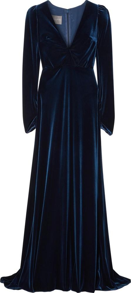 Monique Lhuillier Wrap-effect velvet gown