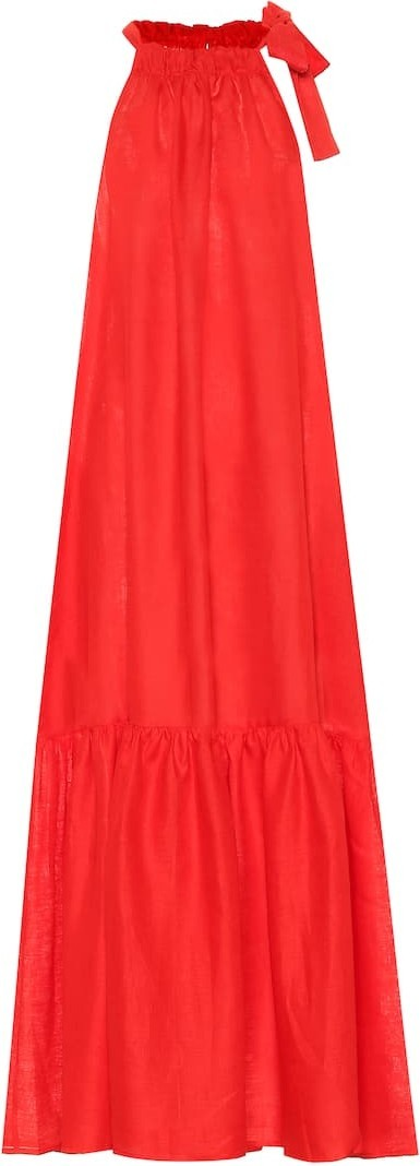 Asceno Ibiza linen halterneck maxi dress