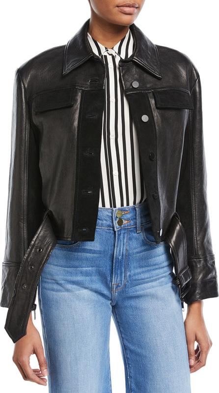 FRAME DENIM Button-Front Paneled Leather Moto Jacket