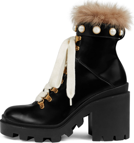 Gucci Trip Combat Boot with Fur Trim