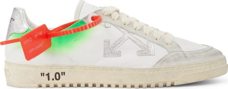 Off White 2.0 Distressed Suede-Trimmed Leather Sneakers