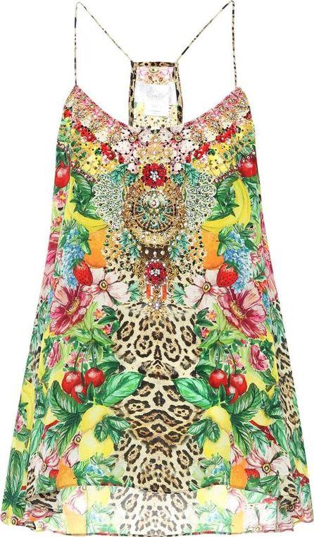 Camilla Embellished printed silk top