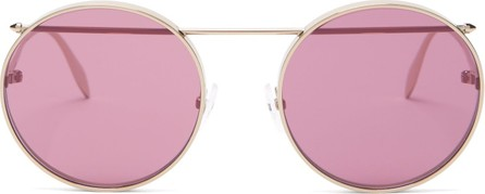 Alexander McQueen Metal piercing bar round sunglasses
