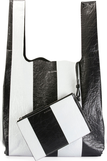 Balenciaga Supermarket Striped Shopper Hobo Bag