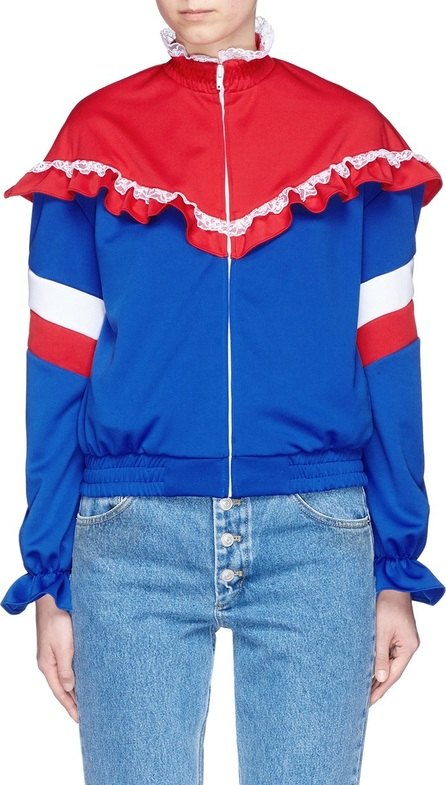Ground-Zero Lace trim ruffle colourblock jersey jacket