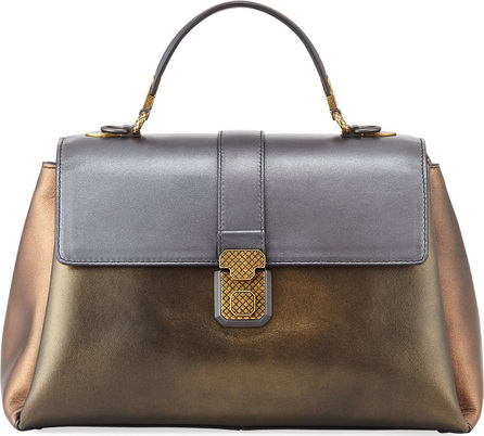 Bottega Veneta Colorblock Metallic Large Piazza Bag