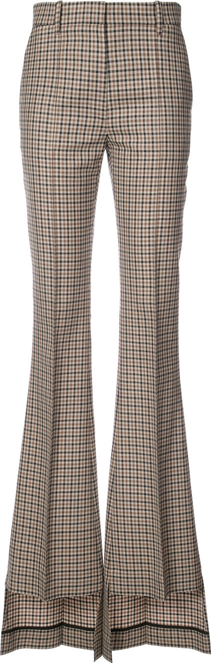 Vera Wang Checked asymmetric flared trousers