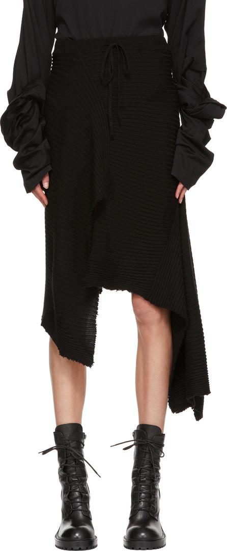Marques'Almeida Black Draped Wool Skirt